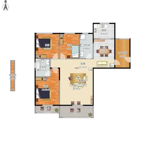 汉武国际城3室1厅2卫1厨166.00㎡户型图