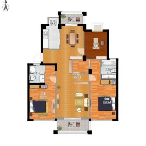 阳光水岸3室1厅2卫1厨158.00㎡户型图