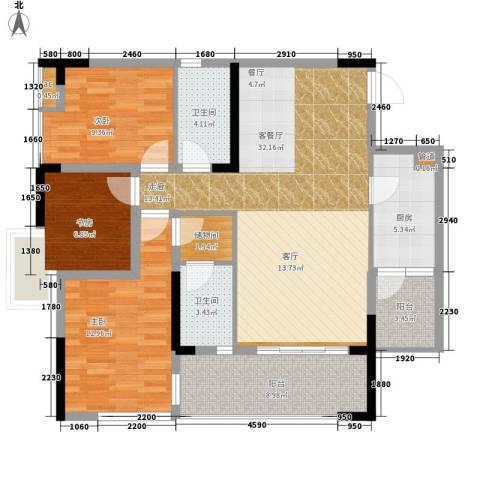 国盛伟岸滨洲3室1厅2卫1厨101.00㎡户型图