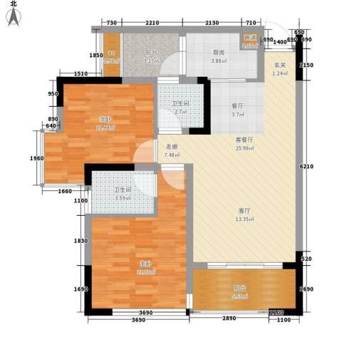 国盛伟岸滨洲2室1厅2卫1厨72.00㎡户型图