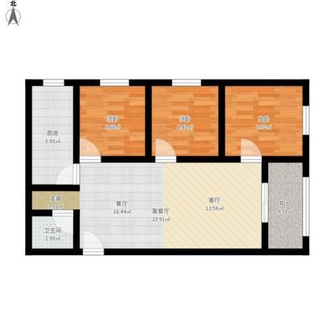 万象春天3室1厅1卫1厨85.00㎡户型图