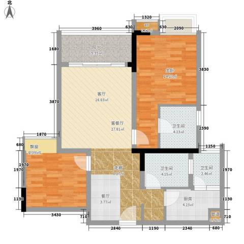 国盛伟岸滨洲2室1厅3卫1厨73.61㎡户型图
