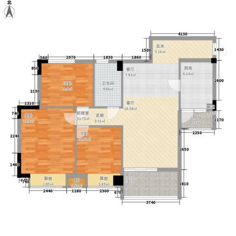 安南丽苑3室0厅1卫1厨99.00㎡户型图