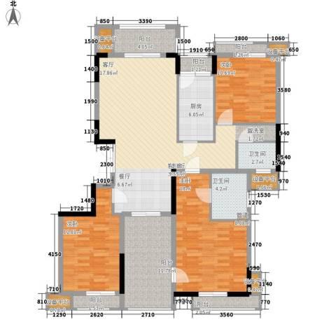 百悦尚城3室1厅2卫1厨167.00㎡户型图