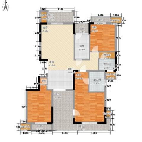 百悦尚城3室1厅2卫1厨173.00㎡户型图