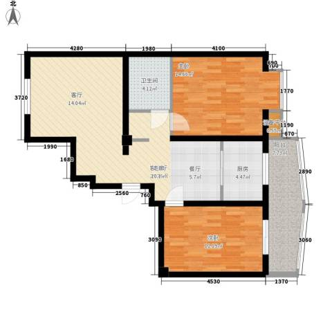 山川文苑二期2室1厅1卫1厨73.48㎡户型图