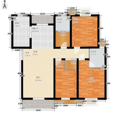 山川文苑二期3室1厅2卫1厨130.00㎡户型图