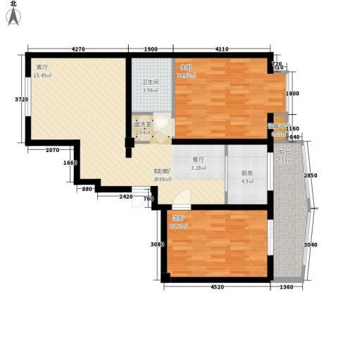 山川文苑二期2室1厅1卫1厨98.00㎡户型图