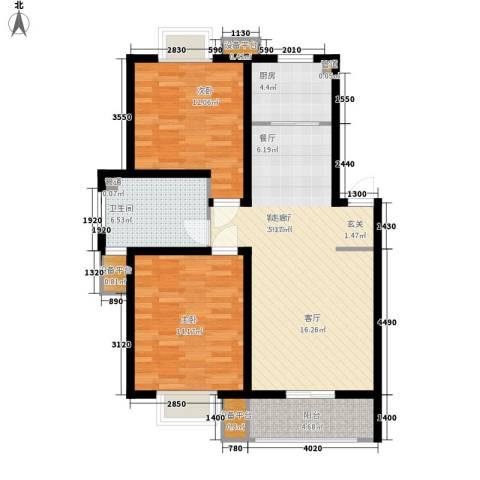 山川文苑二期2室1厅1卫1厨90.00㎡户型图