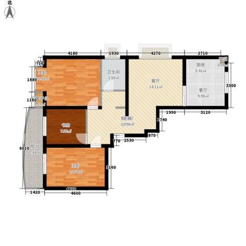 山川文苑二期3室2厅1卫0厨116.00㎡户型图