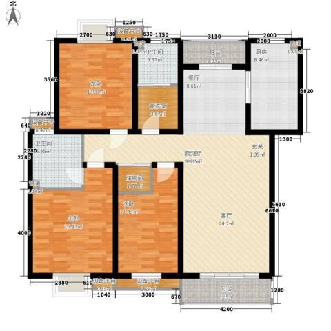 山川文苑二期3室1厅2卫1厨132.00㎡户型图