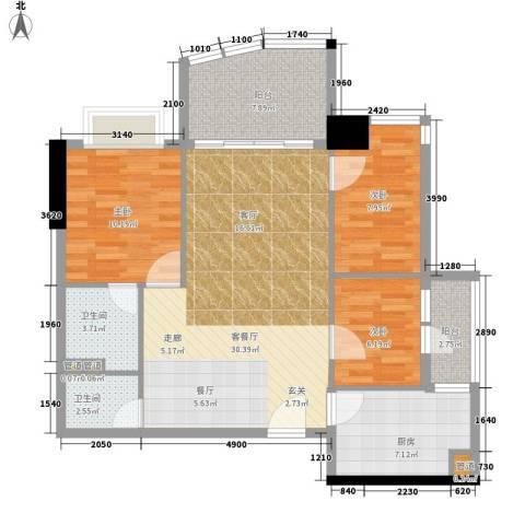 金豪嘉苑3室1厅2卫1厨91.00㎡户型图