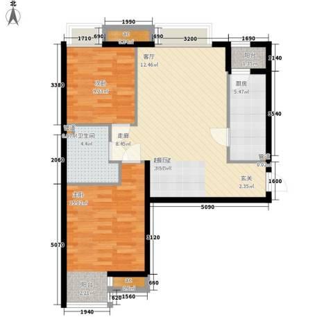 天津湾海景雅苑2室0厅1卫1厨83.00㎡户型图