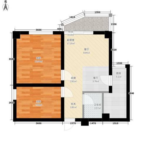 东苑新城二期2室0厅1卫1厨71.00㎡户型图