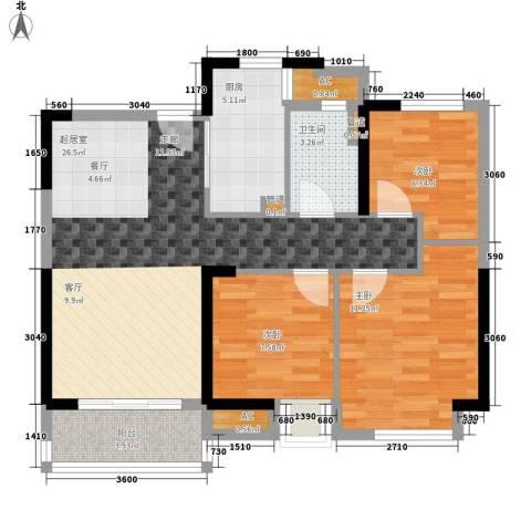 中海国际社区3室0厅1卫1厨89.00㎡户型图