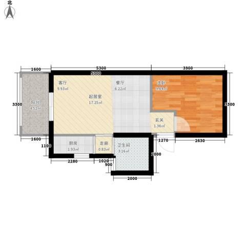 中天花园1室0厅1卫1厨54.00㎡户型图