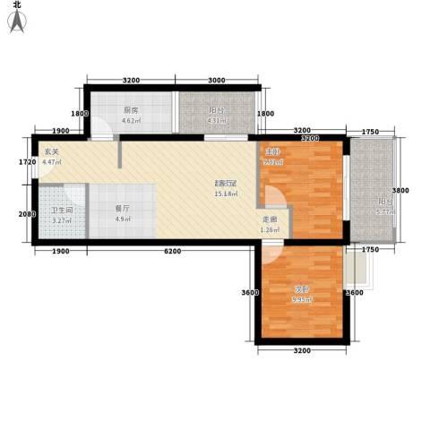 水滴Uhome2室0厅1卫1厨82.00㎡户型图