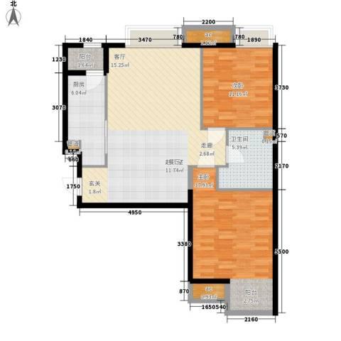 天津湾海景雅苑2室0厅1卫1厨88.00㎡户型图