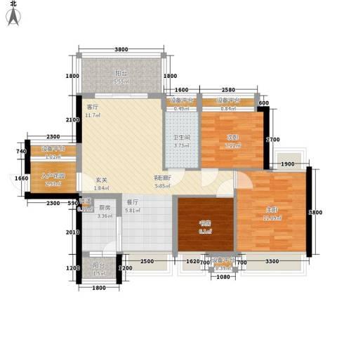 宝嘉上筑3室1厅1卫1厨89.00㎡户型图
