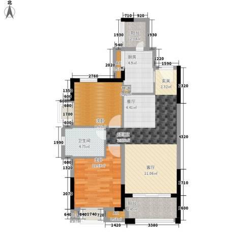 中海国际社区2室0厅1卫1厨91.00㎡户型图