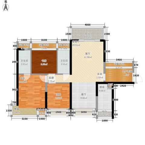 宝嘉上筑3室1厅2卫1厨107.00㎡户型图