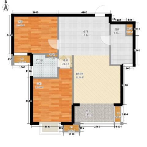 天津湾海景雅苑2室0厅1卫1厨93.00㎡户型图