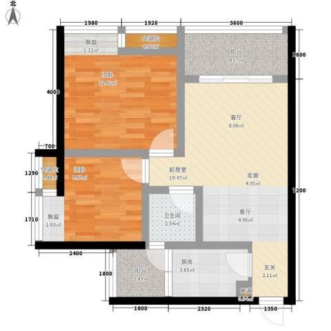 千山美林2室0厅1卫1厨67.00㎡户型图