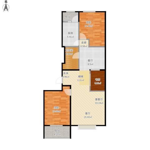 联想科技城3室1厅1卫1厨106.00㎡户型图