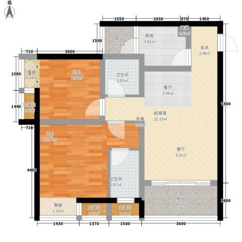 千山美林2室0厅2卫1厨75.00㎡户型图
