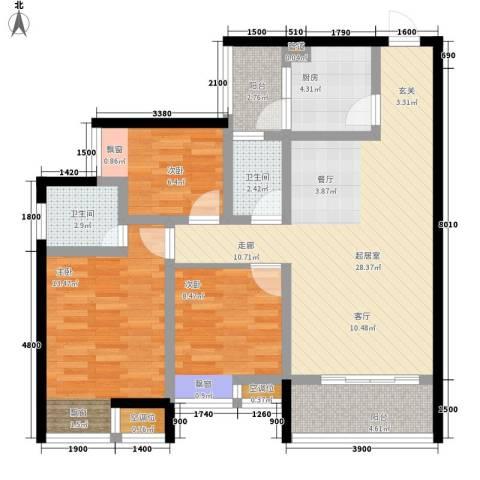 千山美林3室0厅2卫1厨91.00㎡户型图