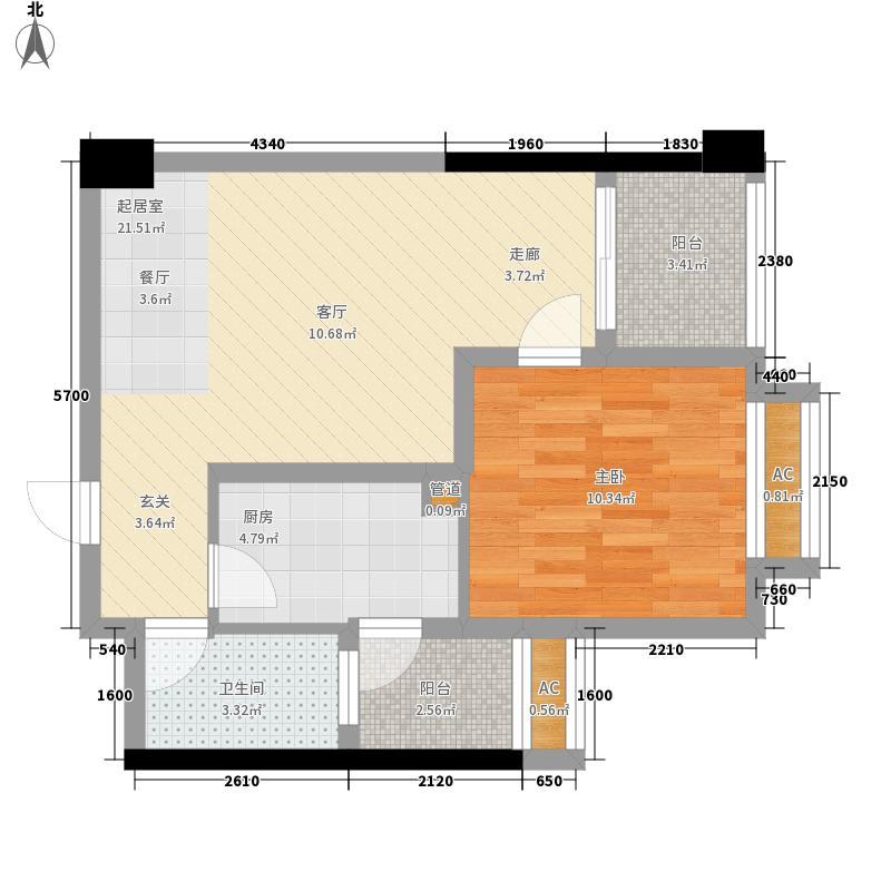 枫丹国际公寓67.00㎡一期1、2号楼标准层A6户型