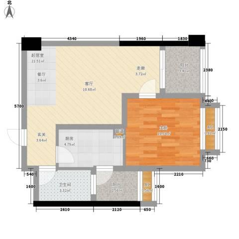 枫丹国际公寓1室0厅1卫1厨67.00㎡户型图