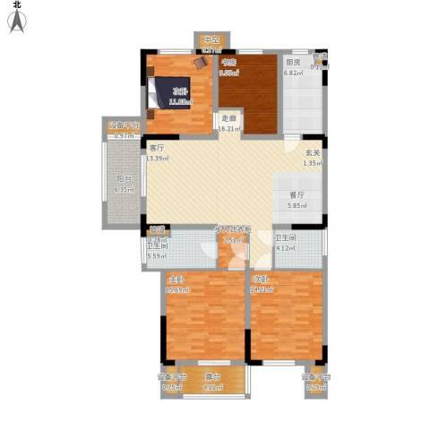 日月明园4室1厅2卫1厨174.00㎡户型图