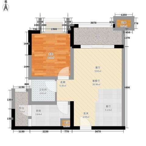 融创御锦1室1厅1卫1厨49.00㎡户型图