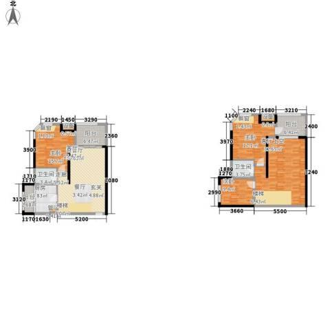 融创御锦3室1厅2卫1厨135.80㎡户型图