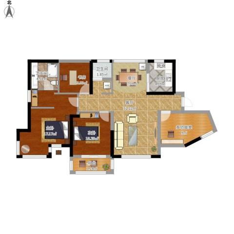 维一星城・原山苑3室1厅2卫1厨128.00㎡户型图