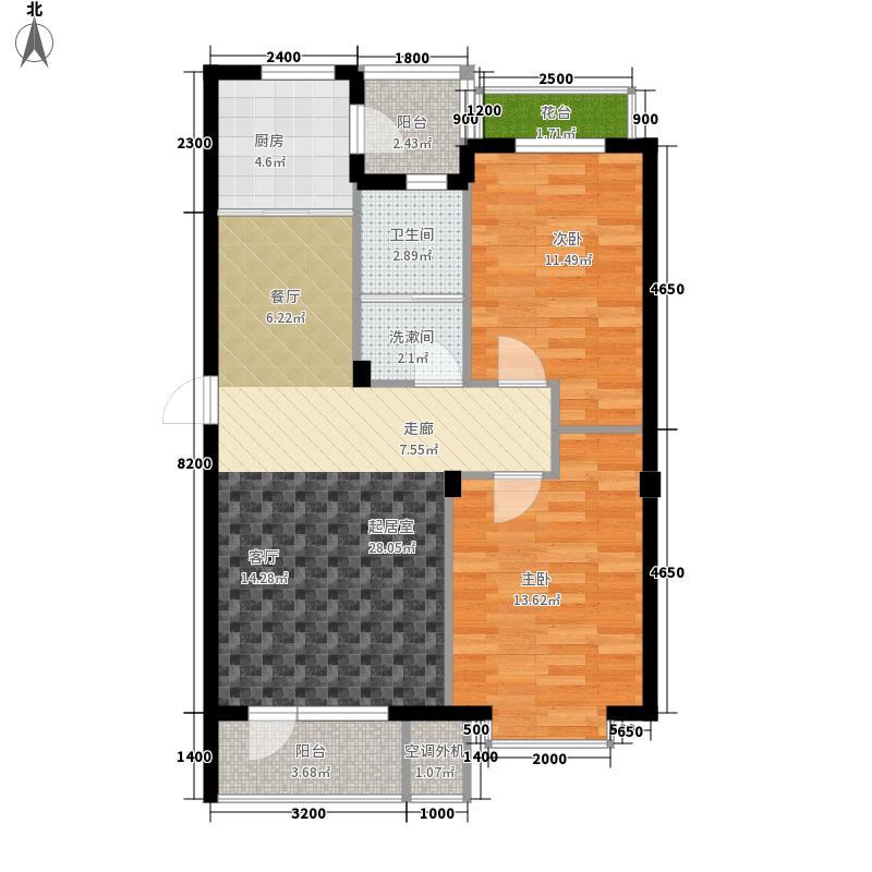 世界湾87.34㎡G户型2室2厅