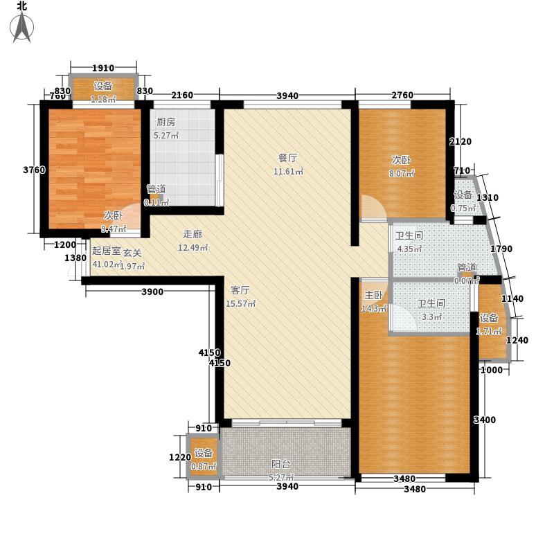 龙腾国际花园141.08㎡B4户型3室2厅