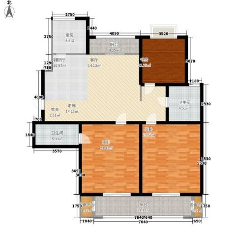 滨河城市经典3室1厅2卫1厨192.00㎡户型图