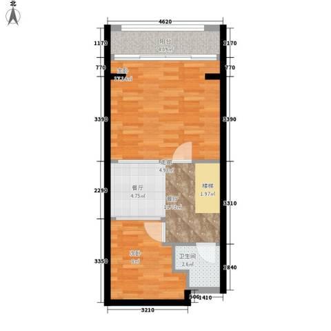云澜湾2室1厅1卫0厨50.00㎡户型图
