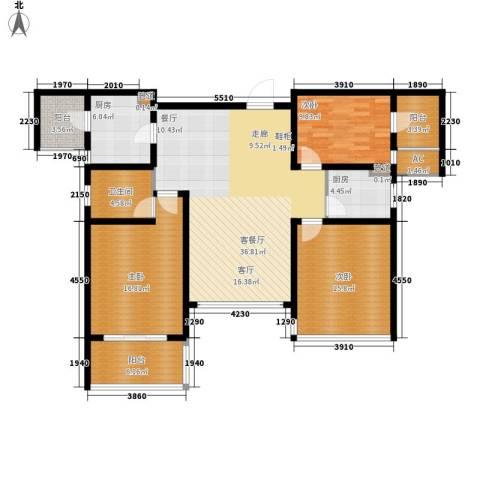消防小区3室1厅1卫2厨125.00㎡户型图