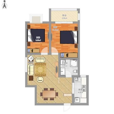 翰林缘花园2室1厅1卫1厨81.00㎡户型图