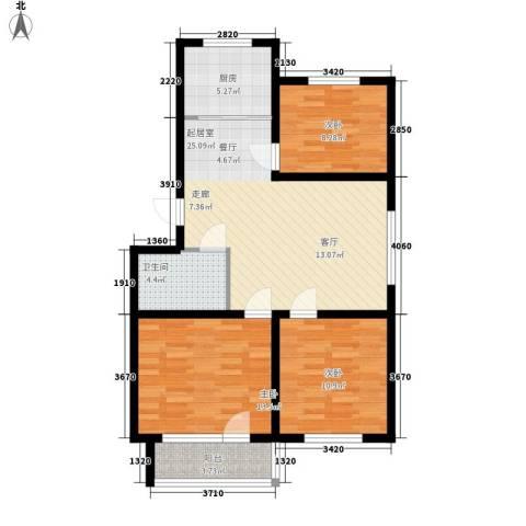 贵和花园三期3室0厅1卫1厨82.00㎡户型图