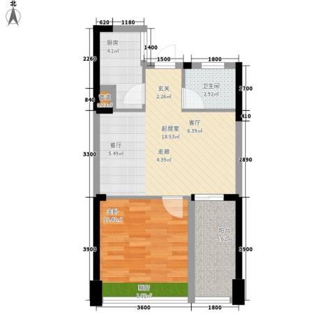 东湖御院1室0厅1卫1厨55.00㎡户型图