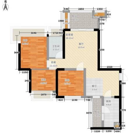 中铁城锦南汇3室0厅1卫1厨87.00㎡户型图