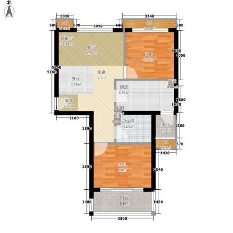 碧玉家园一期2室1厅1卫1厨86.00㎡户型图