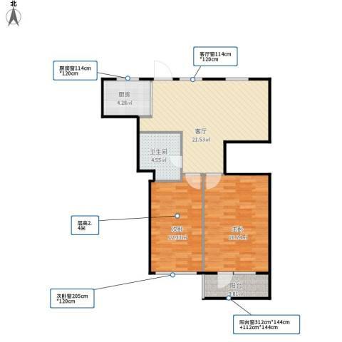 潘家园南里2室1厅1卫1厨67.66㎡户型图