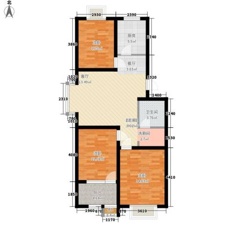 明泉馨居3室0厅1卫1厨89.00㎡户型图