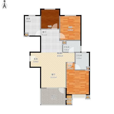 中铁·秦皇半岛3室1厅2卫1厨112.00㎡户型图