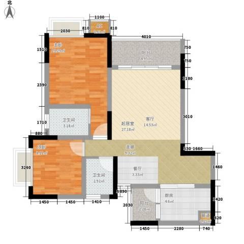 金科绿韵康城2室0厅2卫1厨75.00㎡户型图